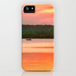 Summer sunset on Wild lake iPhone Case