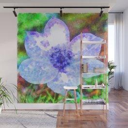 Blue Anemone Watercolor Wall Mural