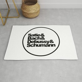 Satie, Bach, Debussy, Schumann, Classical Music Composers, white bg Rug