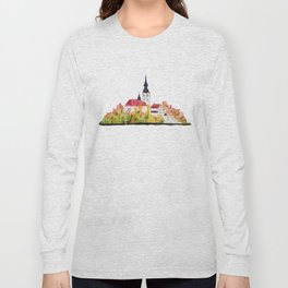 Slovenia Bled Lake pilgrimage church Long Sleeve T-shirt