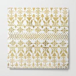 Norwegian Pattern – Gold on White Metal Print