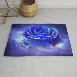 Gracious Gorgeous Blue Rose Blossom Galaxy Ultra HD Rug