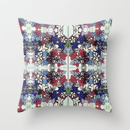 Red-White-Blue Crowded Garden Throw Pillow