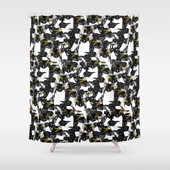 Just Penguins Black White Yellow Shower Curtain