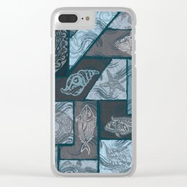 Vintage Hawaiian Tribal Fish Collage Clear iPhone Case