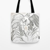 nori Tote Bags featuring Headbutt by BlueSparkle