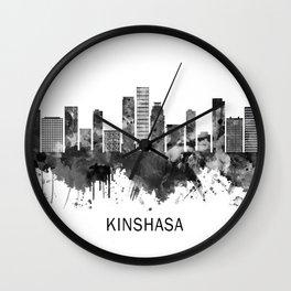 Kinshasa DR Congo Skyline BW Wall Clock