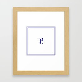Monogram Letter B in Navy Blue and Three Lines Frame Framed Art Print