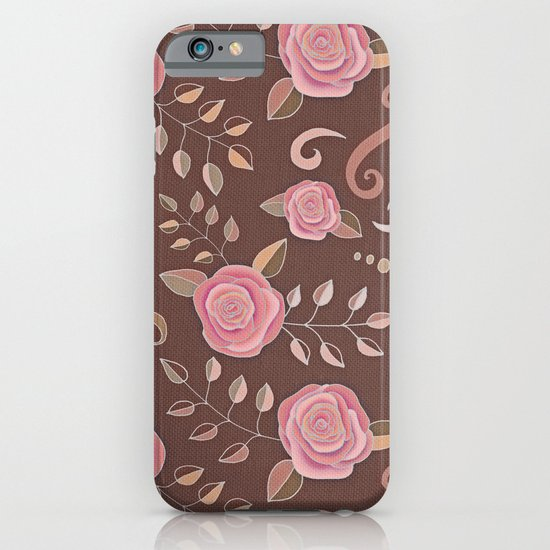 Coffee Roses - vintage rose pattern in pink and brown iPhone & iPod Case