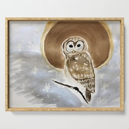 full moon barred owl Serving Tray