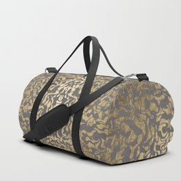 Faux gold foil abstract geometric on grey concrete cement Duffle Bag