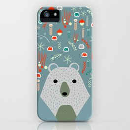 Winter pattern with baby bear iPhone Case