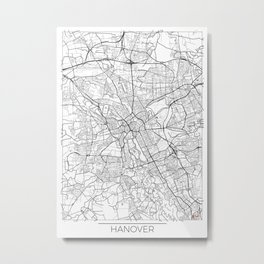 Hanover Map White Metal Print