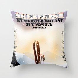 Sheregesh Russia Ski poster. Throw Pillow