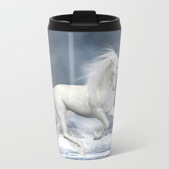 White Unicorn Metal Travel Mug