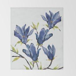 Blue Flowers 3 Throw Blanket
