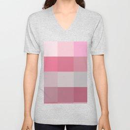 Pixels: Pinks & Grey Unisex V-Neck