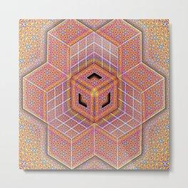 Flower of Life Cube Metal Print