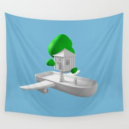 Tree House Boat Wall Tapestry