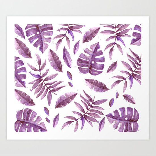 Purple Fern Leaves  #cadineradesign Art Print