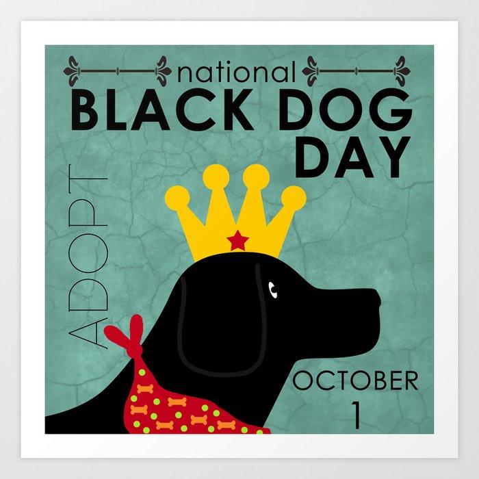 Black Dog Day Royal Crown Art Print