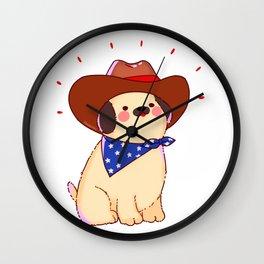 America Dog Hat Western Pet Friend Gift Wall Clock