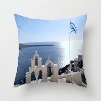 greece Throw Pillows featuring Greece by Shine Like Sunbeams