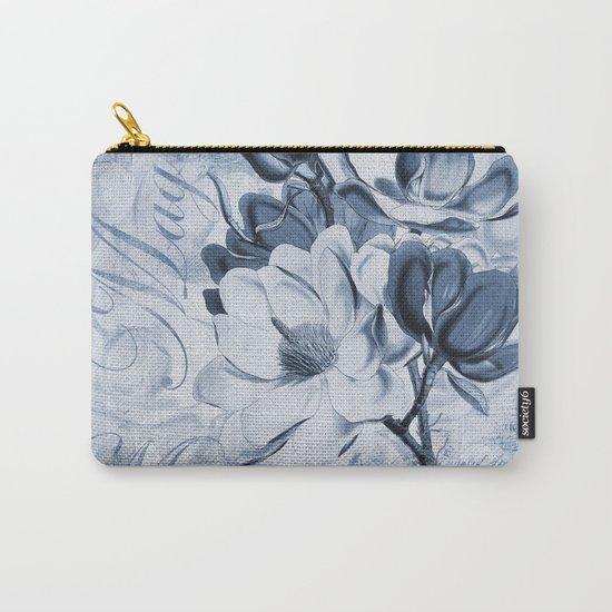 Blue Magnolia vintage flower illustration Carry-All Pouch