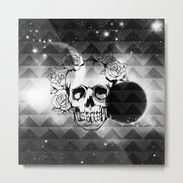 bw space skull  Metal Print