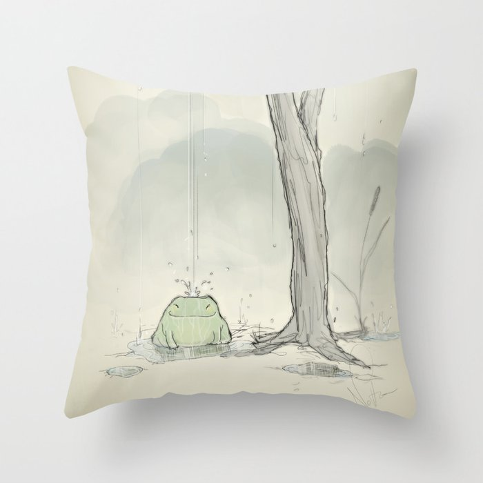 The frog under the rain Throw Pillow