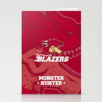 monster hunter Stationery Cards featuring Monster Hunter All Stars - The Minegarde Blazers by Bleached ink