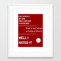 michael scott Framed Art Prints featuring Michael Scott on Hate Crimes (The Office) by thebuccanear