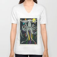 cthulu V-neck T-shirts featuring Darrell Merrill Nerd Artist CTHULU PRIEST by Nerd Artist DM