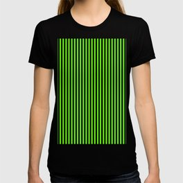 Striped black and light green background T-shirt