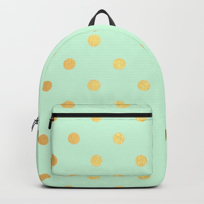 Gold polka dots on mint background - Luxury greenery pantone pattern Backpack