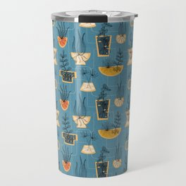 1950s Houseplants- Blue Travel Mug