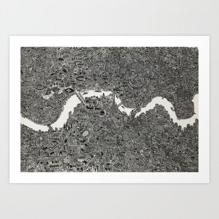 London Map Print Art Print By Desertdoodler Society6