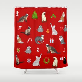Christmas cats pattern decor. Shower Curtain