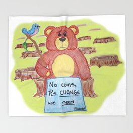 Sad bear & friend Throw Blanket