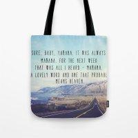 kerouac Tote Bags featuring Hwy 1 Kerouac by Altgasse Designs