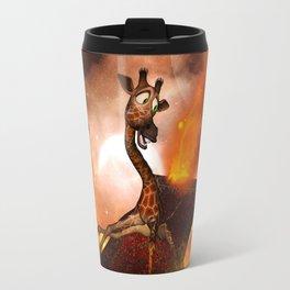 Funny, cute giraffe flys with a rug Travel Mug