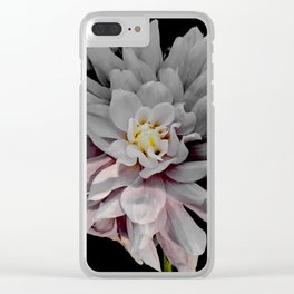 Grey Dahlia Bloom With Pink Clear iPhone Case