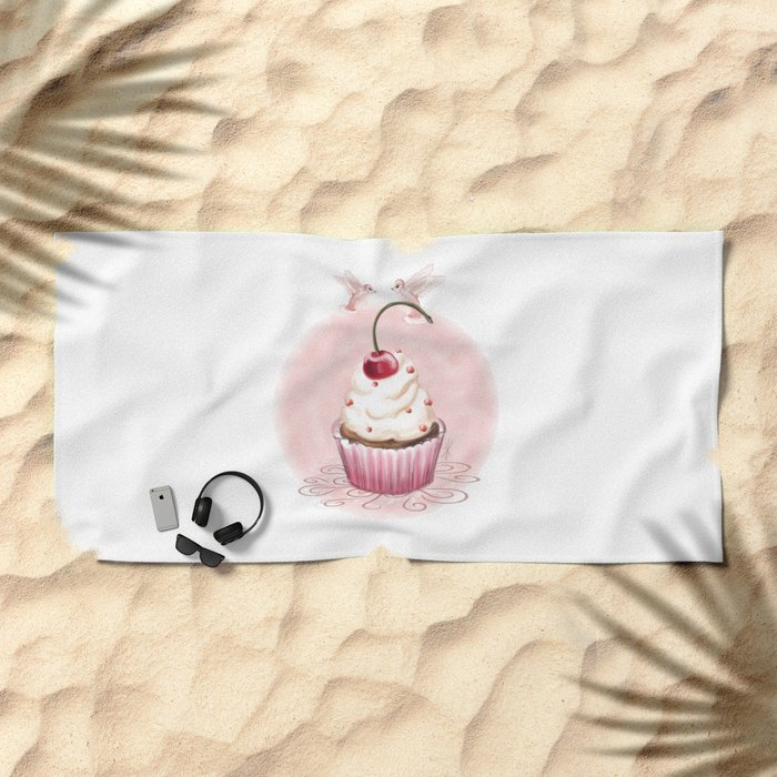 Cherry Cupcake Beach Towel