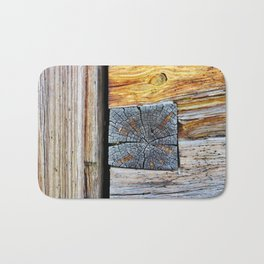 Old log cabin wooden wall Bath Mat