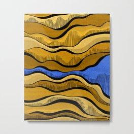 Golden Waves with Interrupting Blue Metal Print