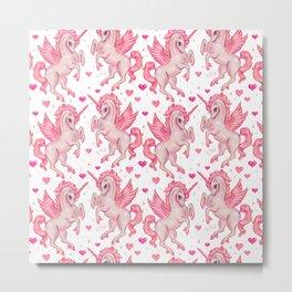 Pink Unicorn Pegasus Metal Print