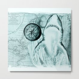 Great White Shark Compass Map Green Metal Print