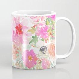 Modern pink coral watercolor hand painted floral Coffee Mug