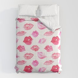 Watercolor pink lips pattern Comforters