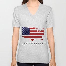 United States map with flag Unisex V-Neck
